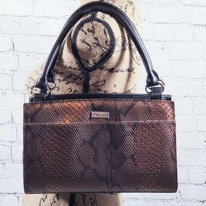 Miche brown bronze crocodile animal print handbag